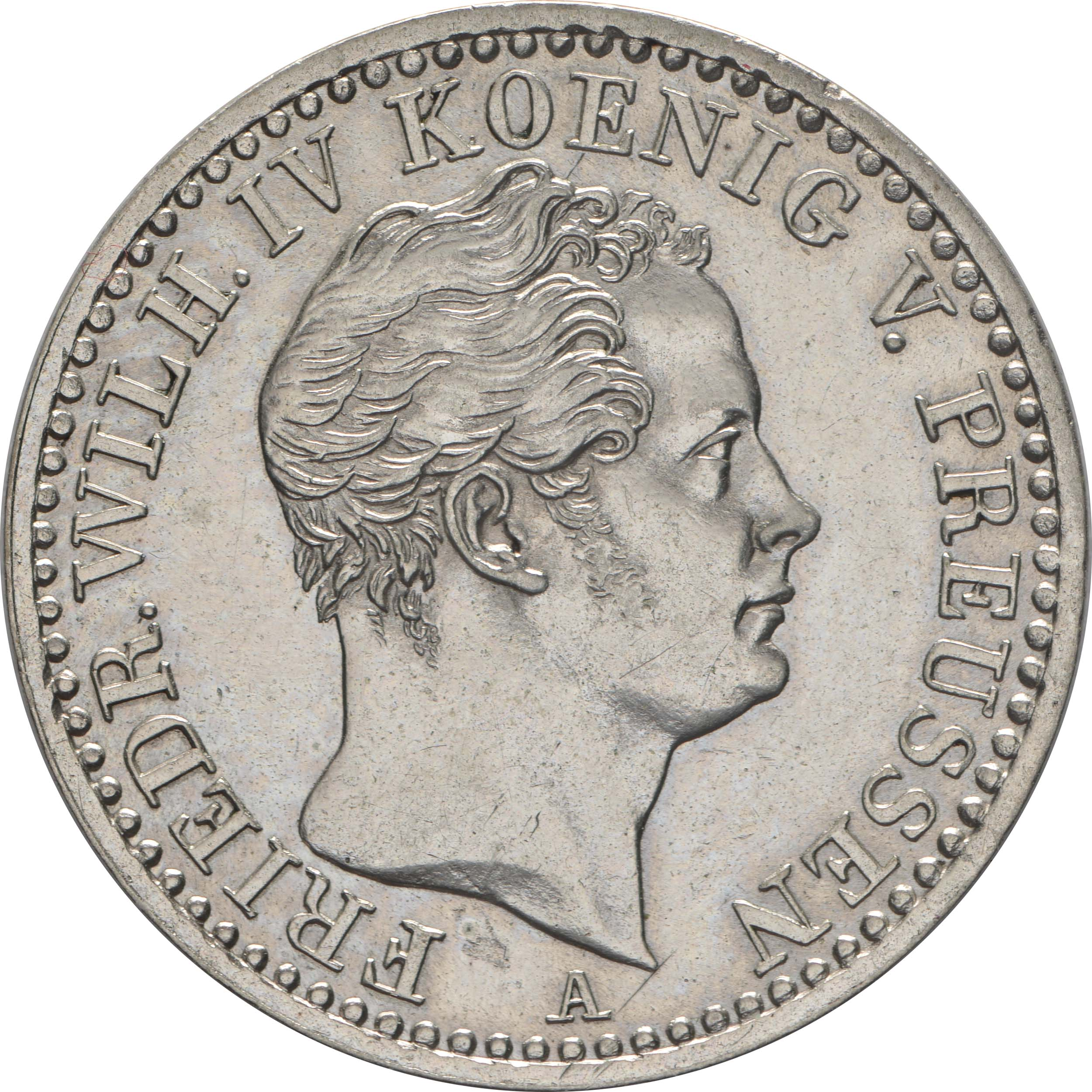 Vorderseite:Deutschland : 1/6 Taler   1843 vz/Stgl.
