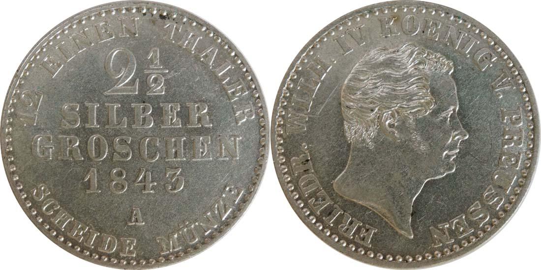 Deutschland : 2 1/2 Silbergroschen   1843 vz/Stgl.
