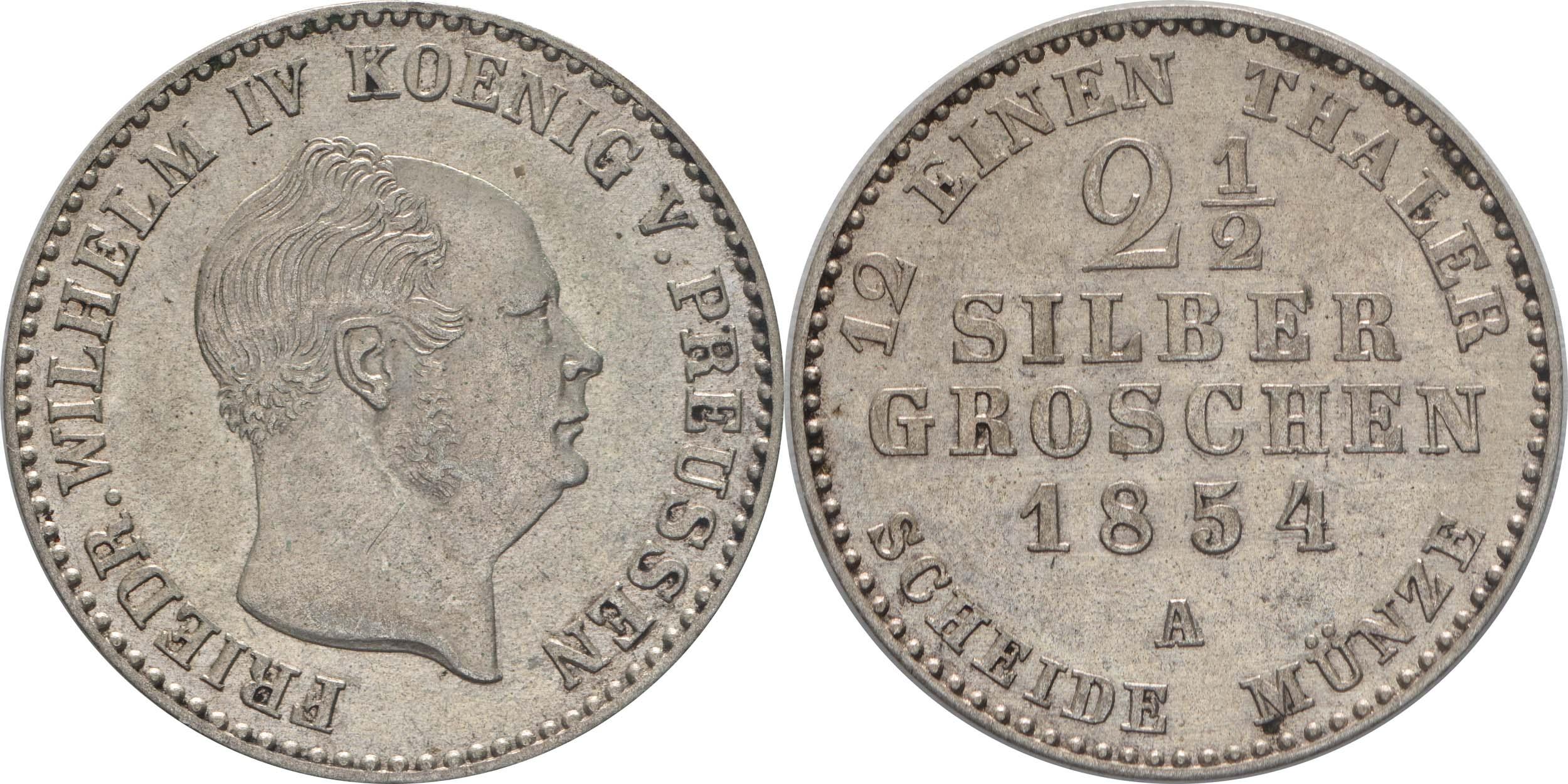 Übersicht:Deutschland : 2 1/2 Silbergroschen   1854 vz.