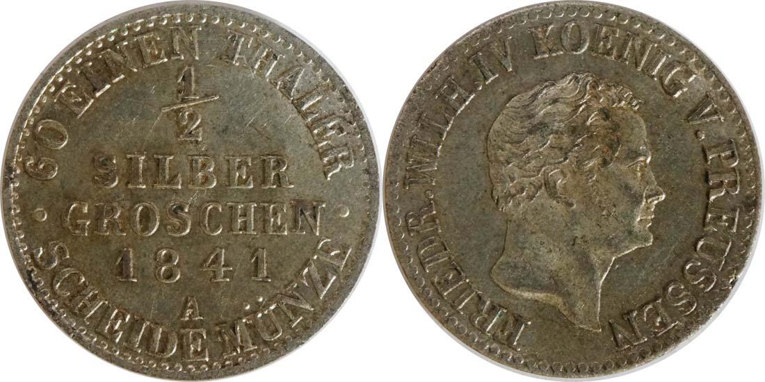 Deutschland : 1/2 Silbergroschen   1841 vz/Stgl.