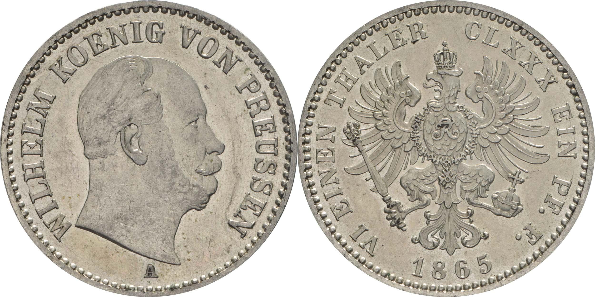 Deutschland : 1/6 Taler  winz. Kratzer 1865 f.Stgl.