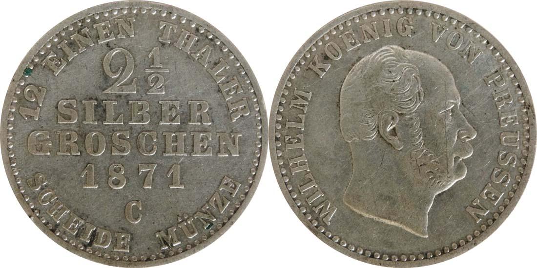Deutschland : 2 1 /2 Silbergroschen   1871 f.vz.