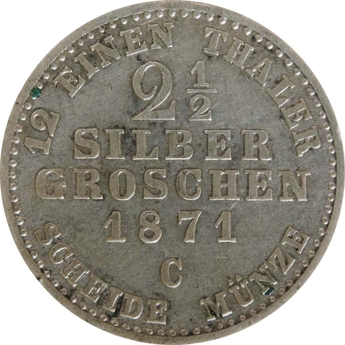 Vorderseite:Deutschland : 2 1 /2 Silbergroschen   1871 f.vz.