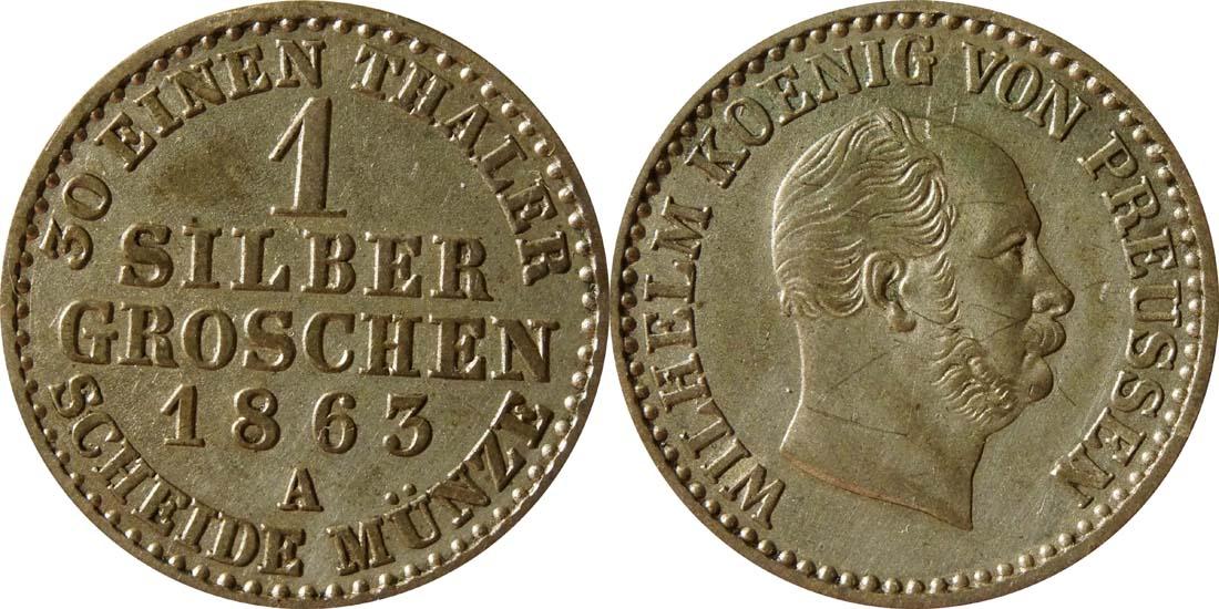 Lieferumfang:Deutschland : 1 Silbergroschen   1863 vz.
