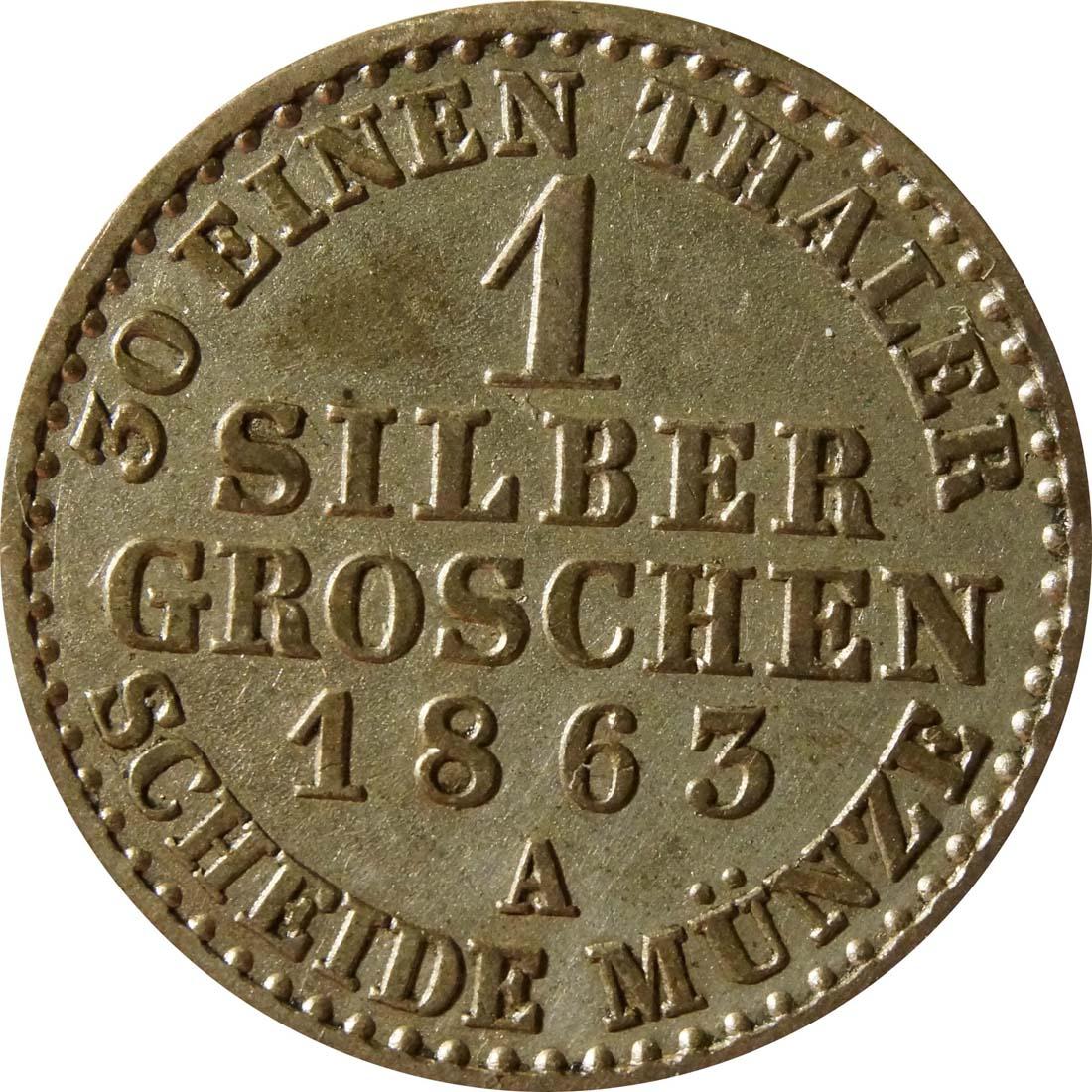 Vorderseite :Deutschland : 1 Silbergroschen   1863 vz.