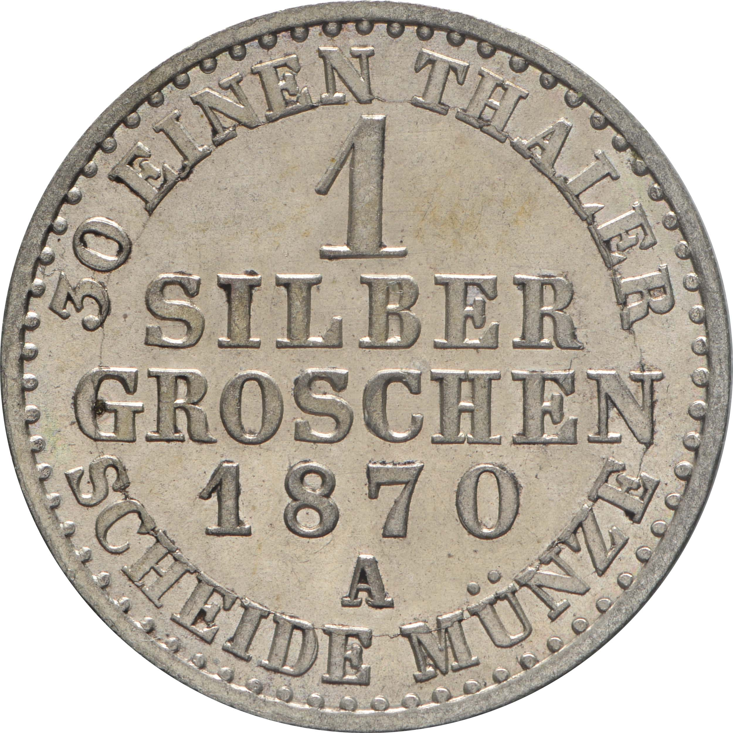 Rückseite:Deutschland : 1 Silbergroschen  !Erhaltung! 1870 Stgl.