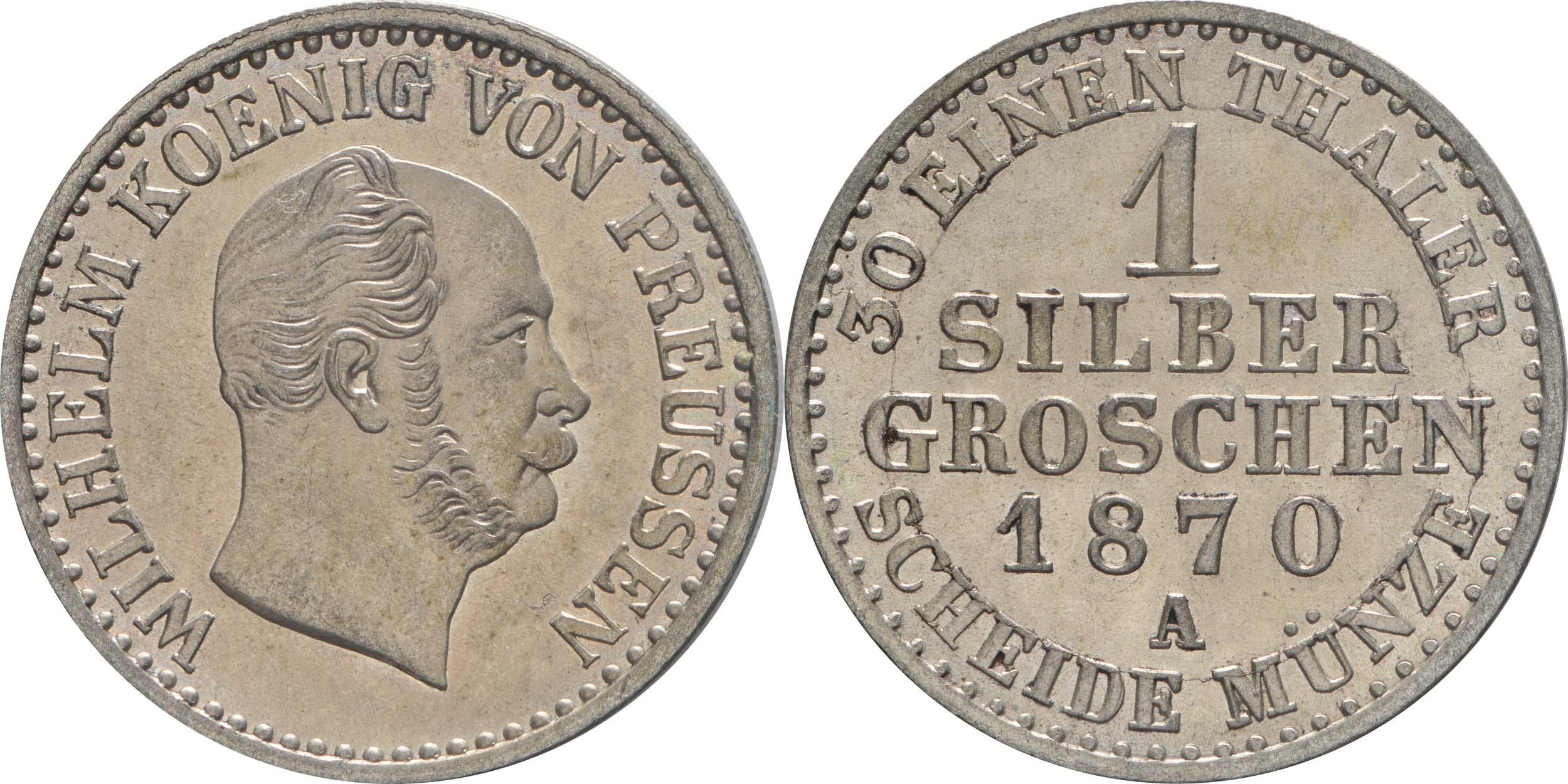 Lieferumfang:Deutschland : 1 Silbergroschen  !Erhaltung! 1870 Stgl.