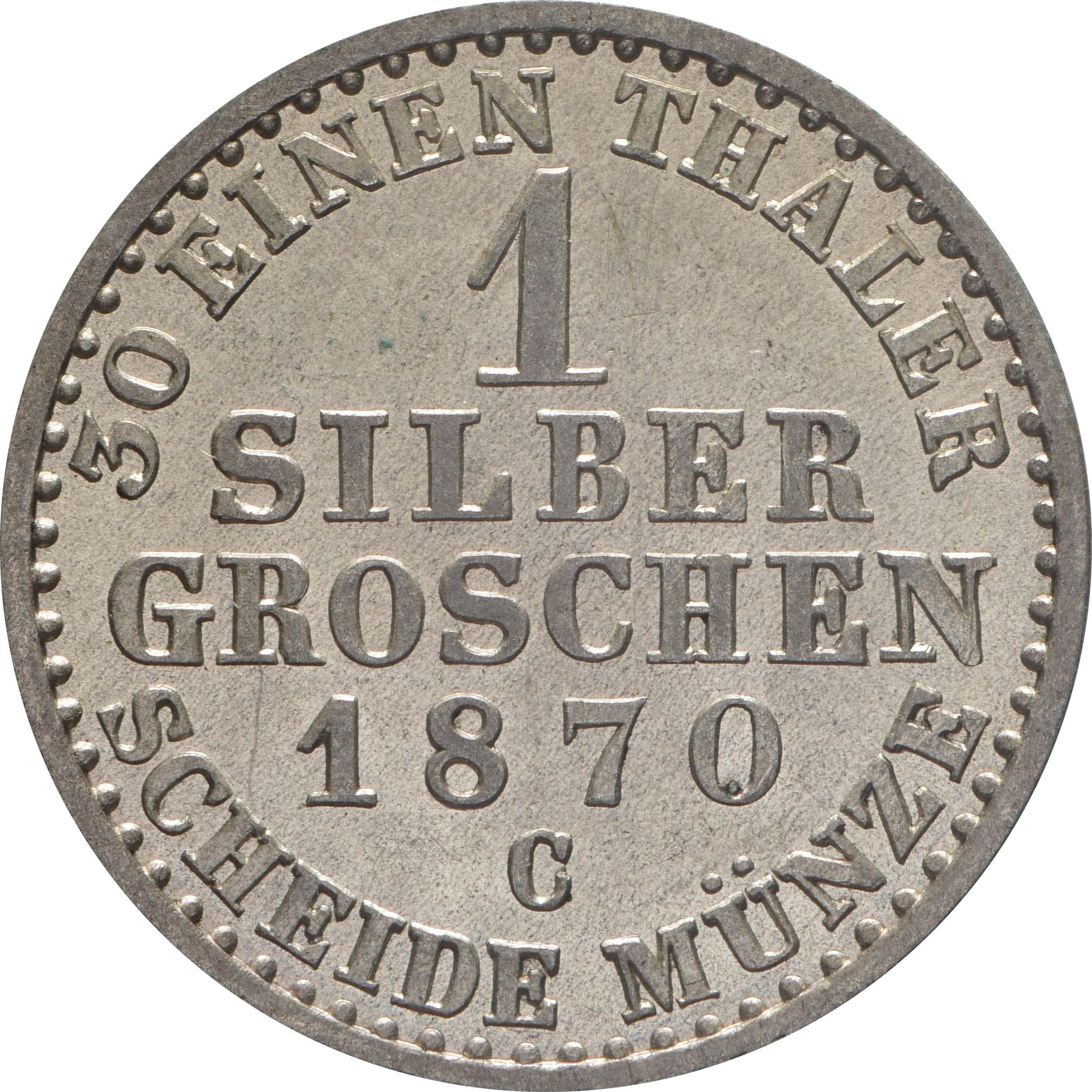 Rückseite:Deutschland : 1 Silbergroschen   1870 vz/Stgl.