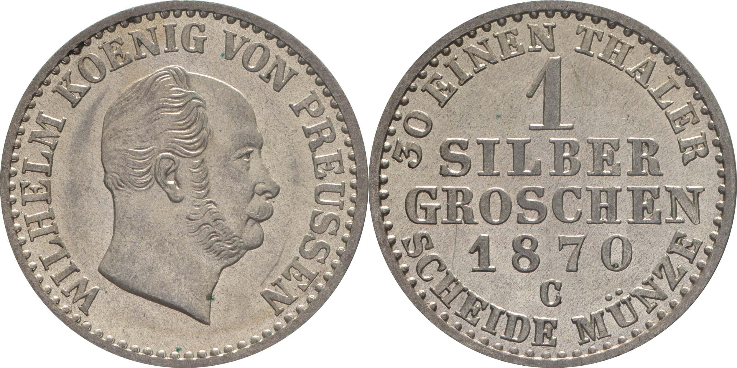 Deutschland : 1 Silbergroschen   1870 vz/Stgl.