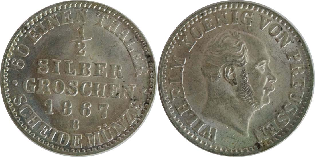 Deutschland : 1/2 Silbergroschen   1867 Stgl.