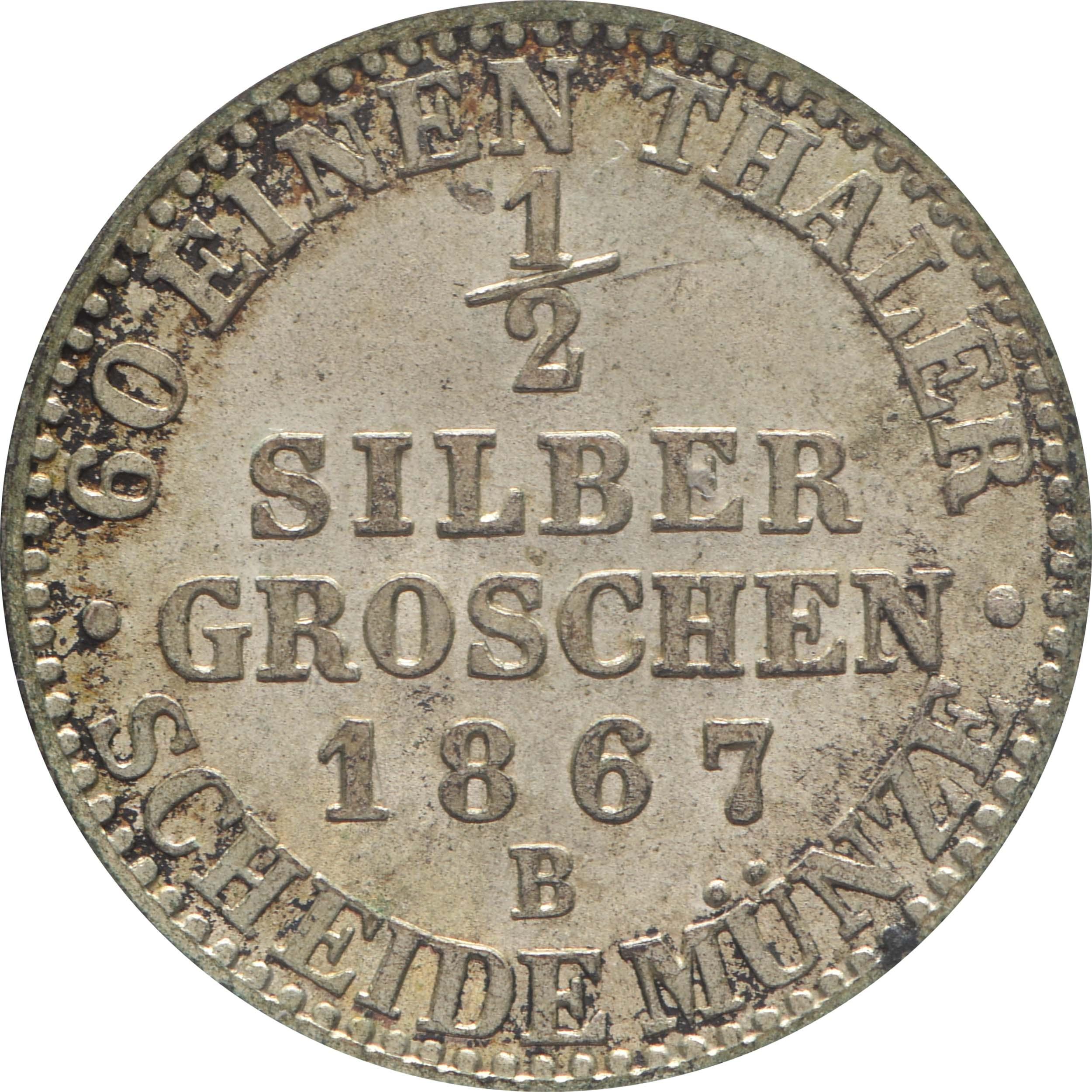 Rückseite:Deutschland : 1/2 Silbergroschen   1867 vz/Stgl.