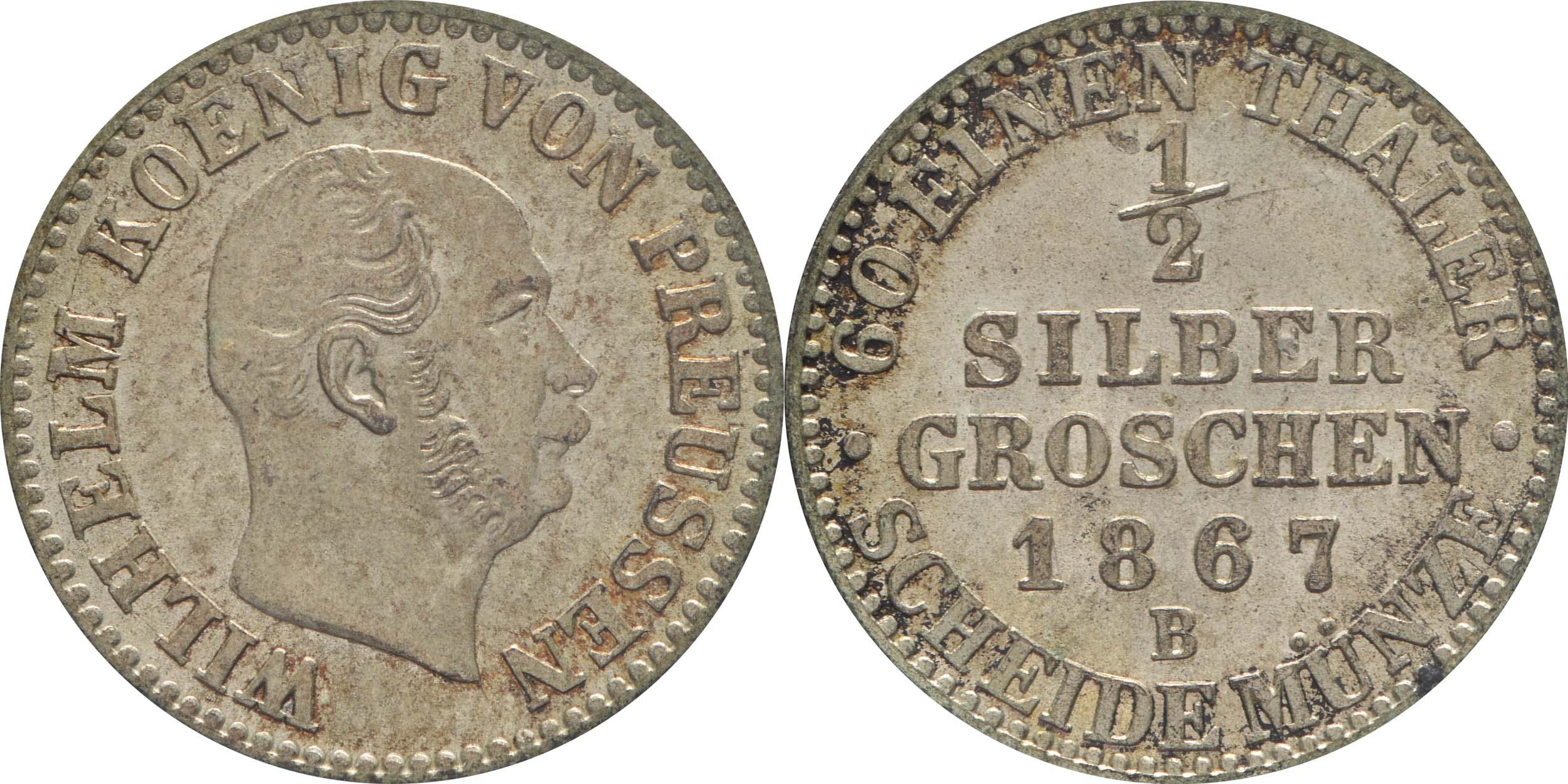 Übersicht:Deutschland : 1/2 Silbergroschen   1867 vz/Stgl.