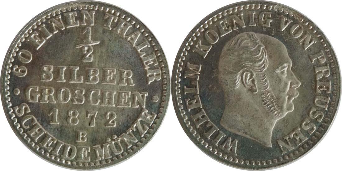 Deutschland : 1/2 Silbergroschen  !Erhaltung! 1872 Stgl.