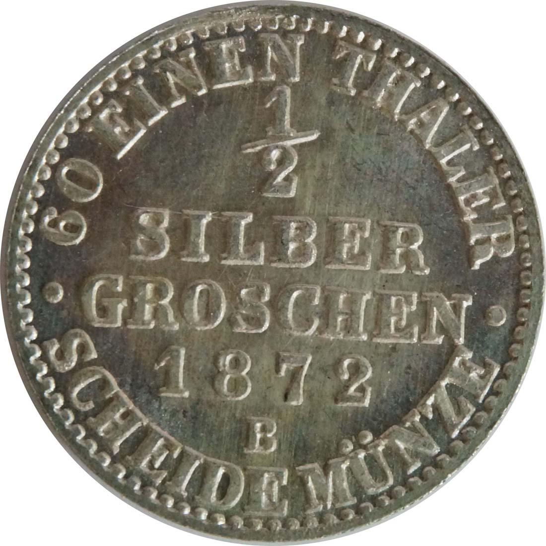 Vorderseite:Deutschland : 1/2 Silbergroschen  !Erhaltung! 1872 Stgl.