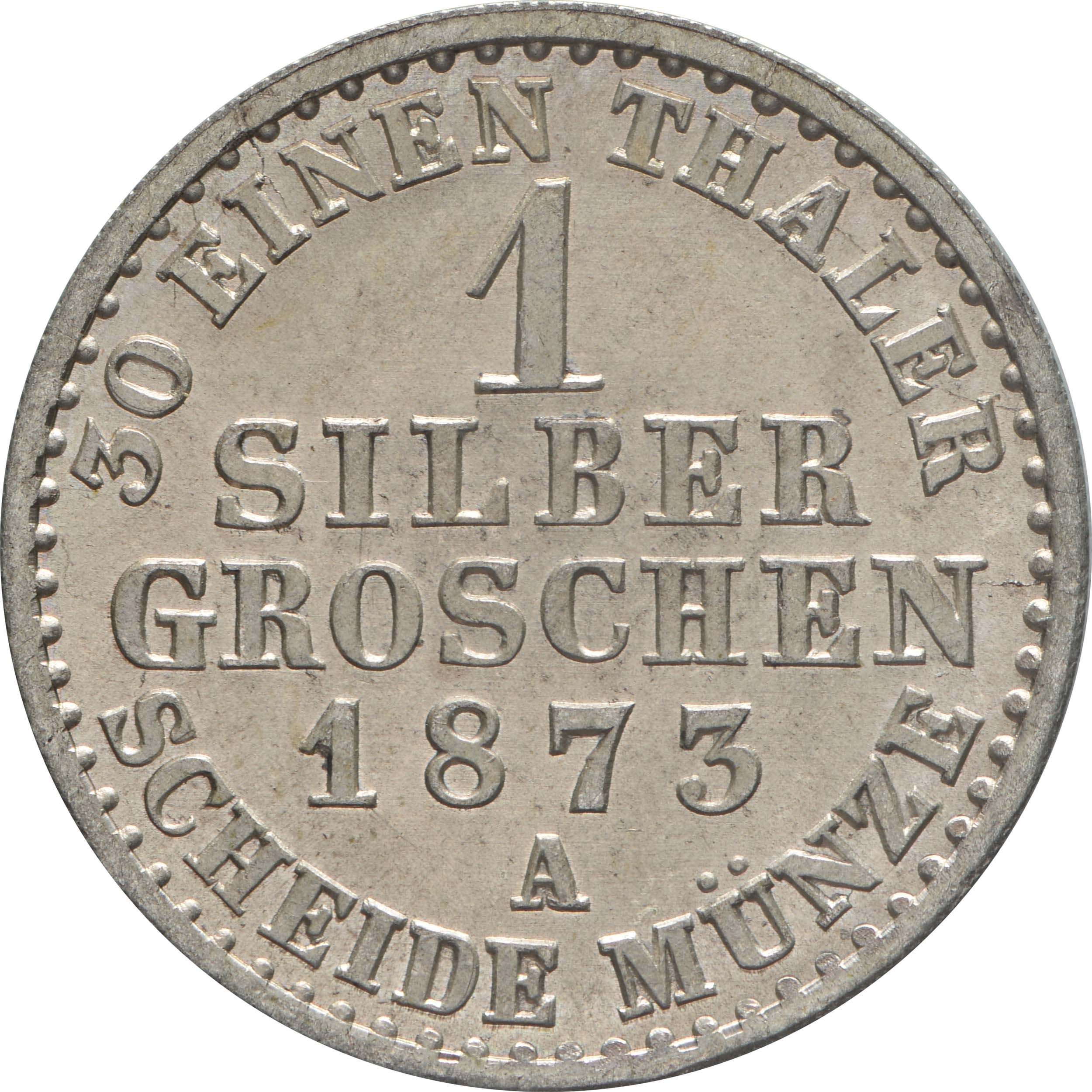 Rückseite:Deutschland : 1 Silbergroschen  -fein- 1873 Stgl.