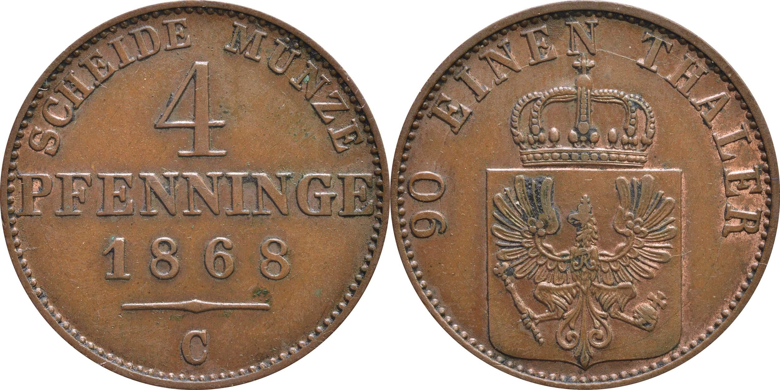 Lieferumfang:Deutschland : 4 Pfennig   1868 vz.