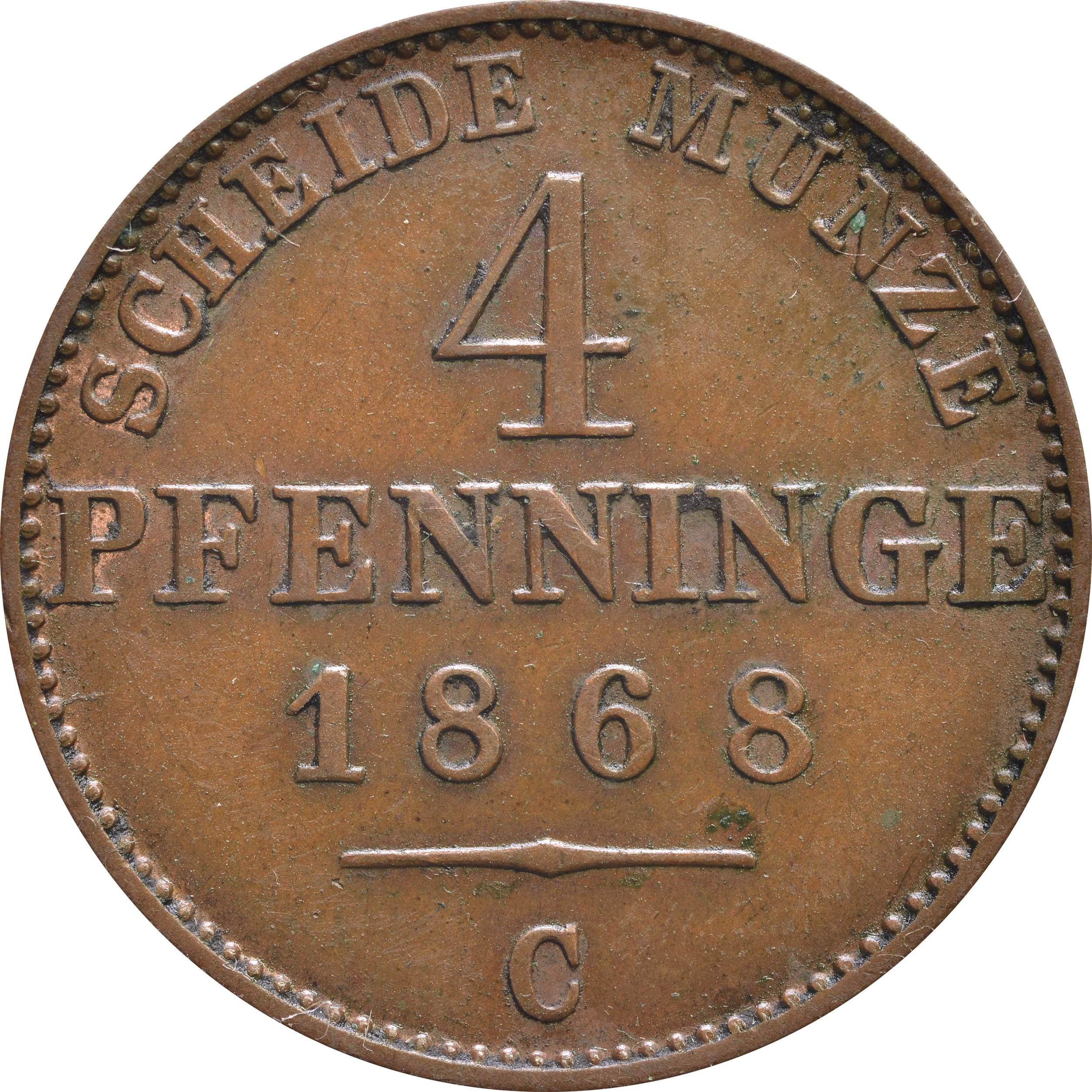 Vorderseite:Deutschland : 4 Pfennig   1868 vz.