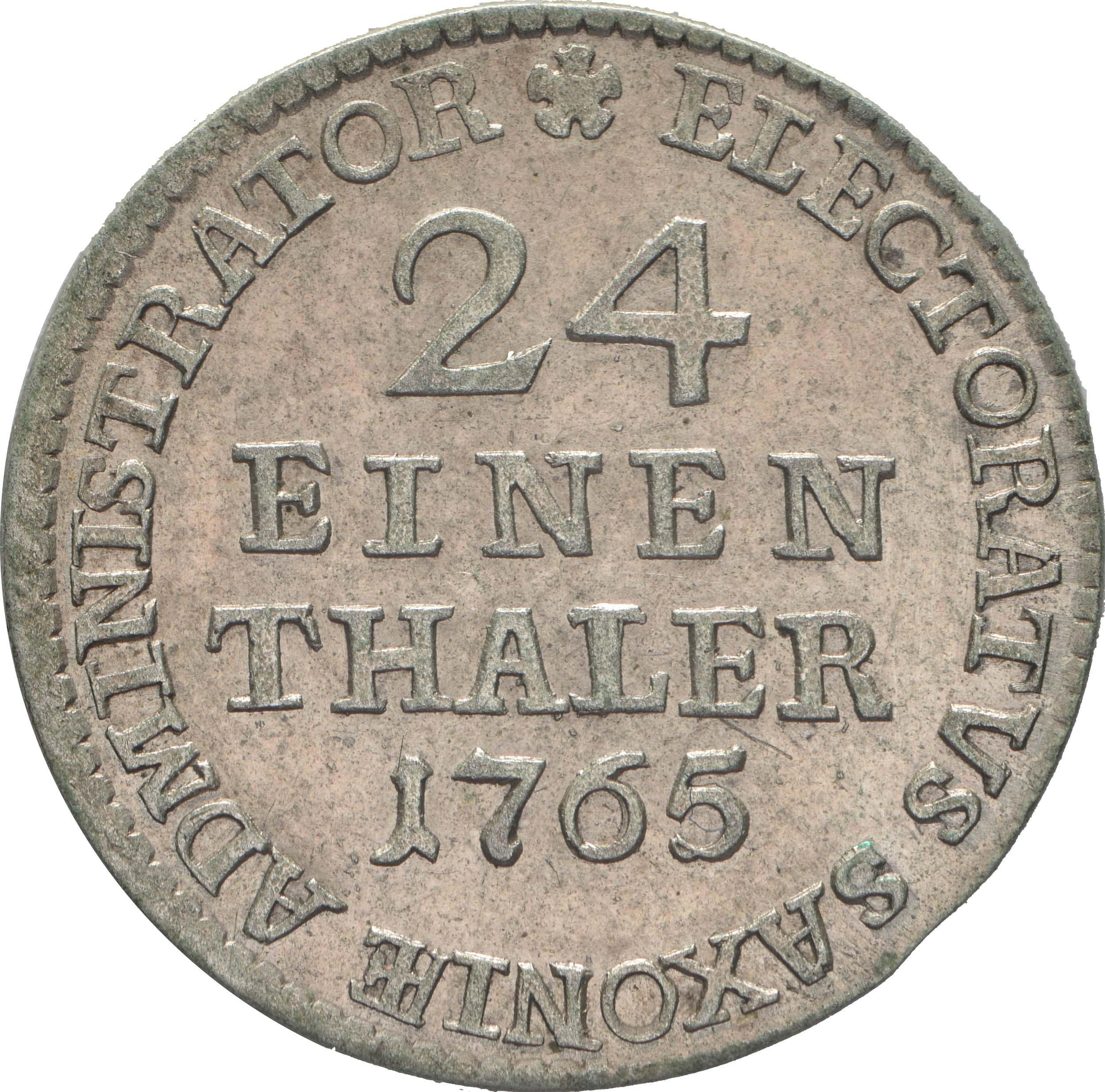 Rückseite:Deutschland : 1/24 Taler Friedrich August III  1765 vz/Stgl.