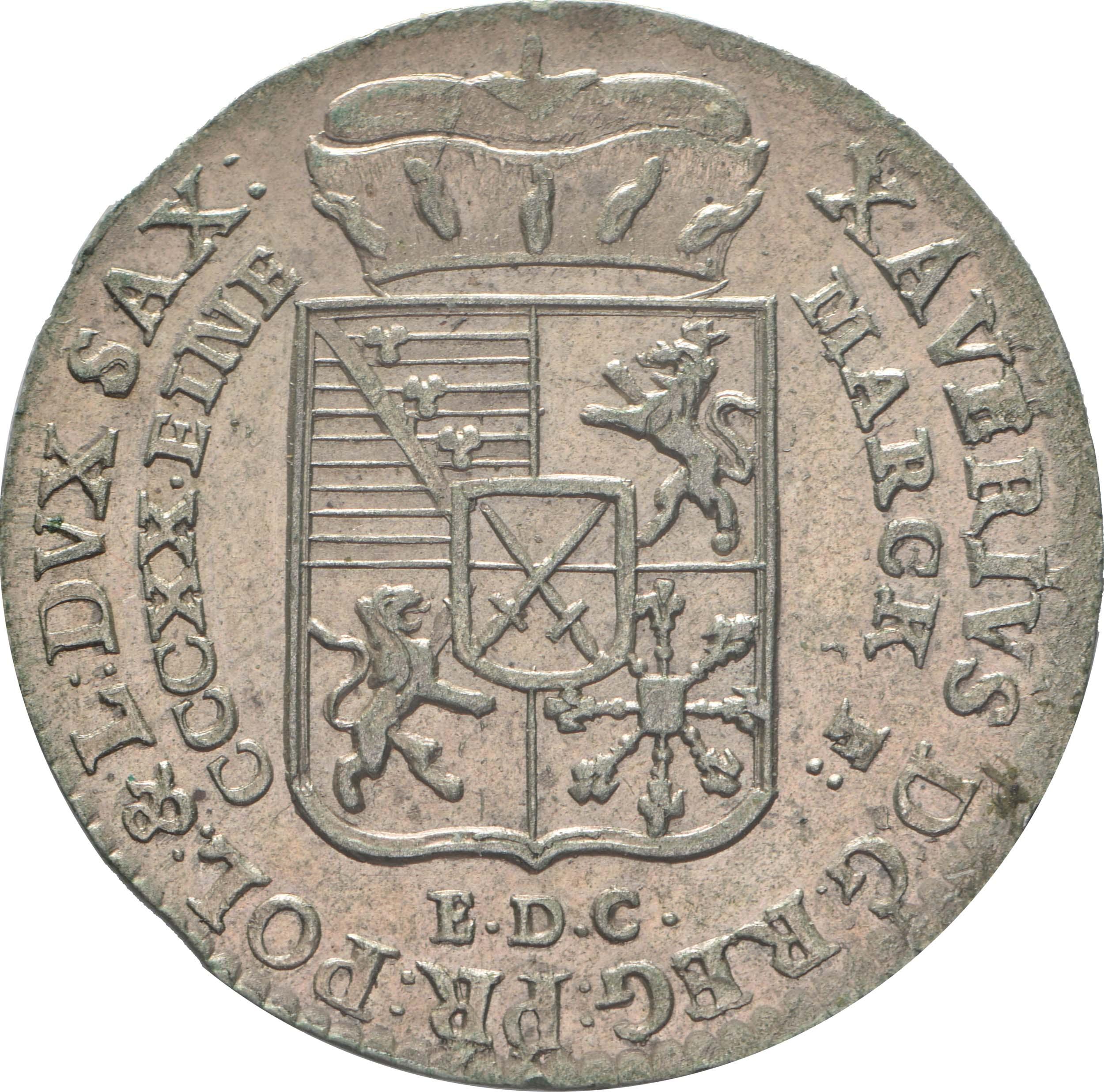Vorderseite:Deutschland : 1/24 Taler Friedrich August III  1765 vz/Stgl.