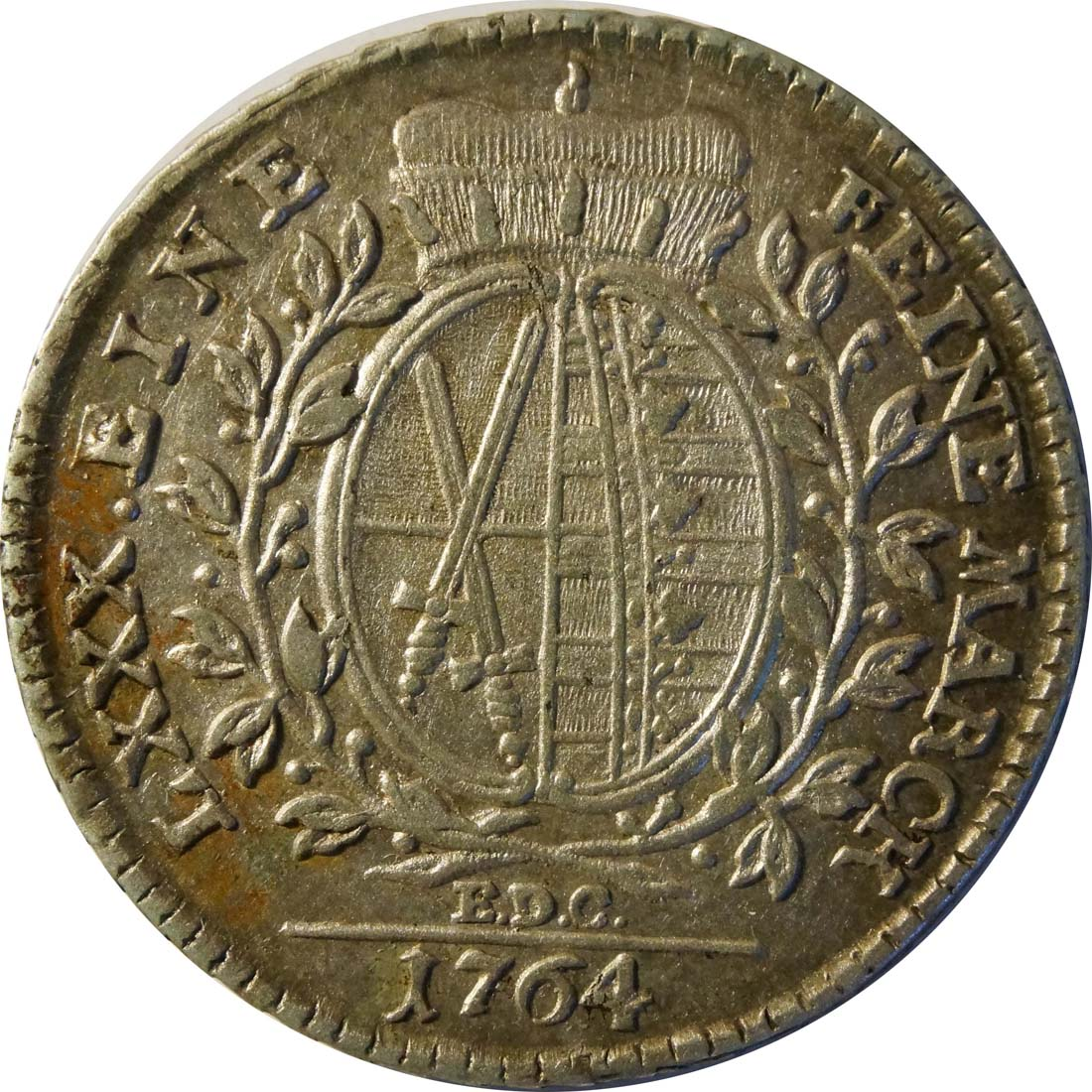 Rückseite:Deutschland : 1/6 Taler  patina 1764 vz.