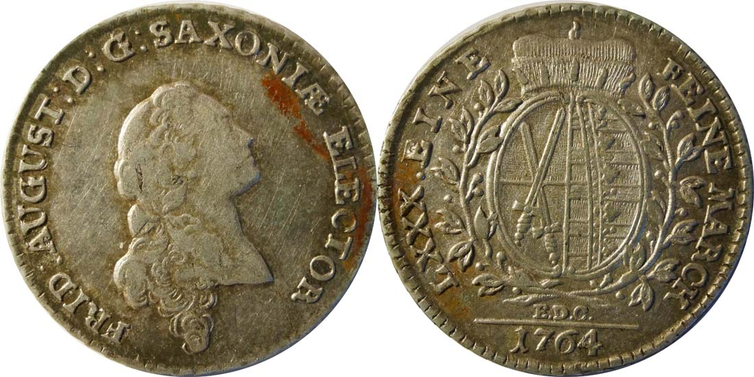 Übersicht:Deutschland : 1/6 Taler  patina 1764 vz.