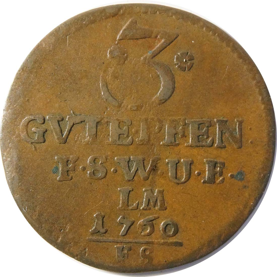 Vorderseite :Deutschland : 3 Pfennig   1760 ss.
