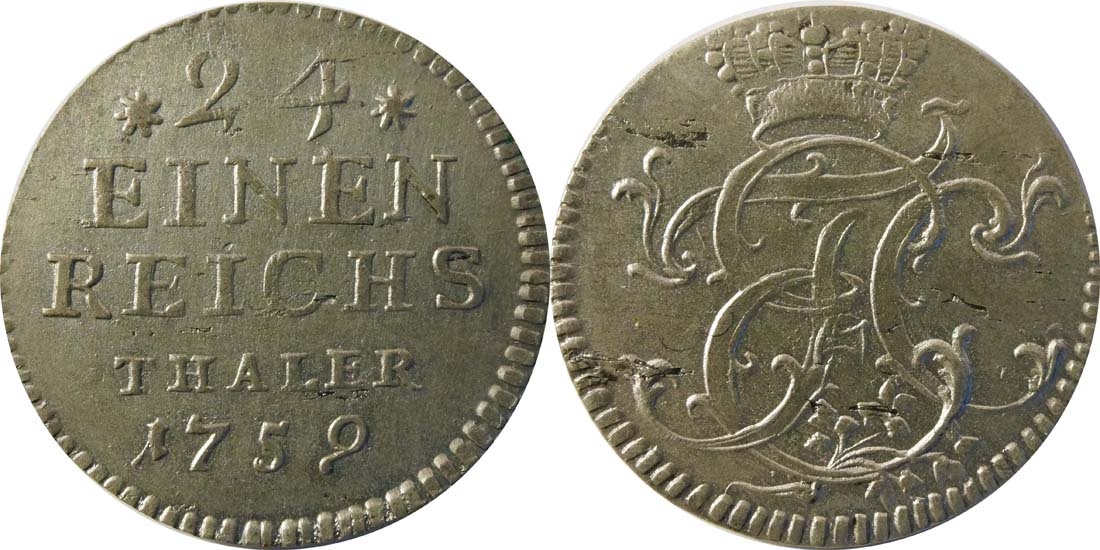 Lieferumfang:Deutschland : 1/24 Taler  -selten- 1759 vz.