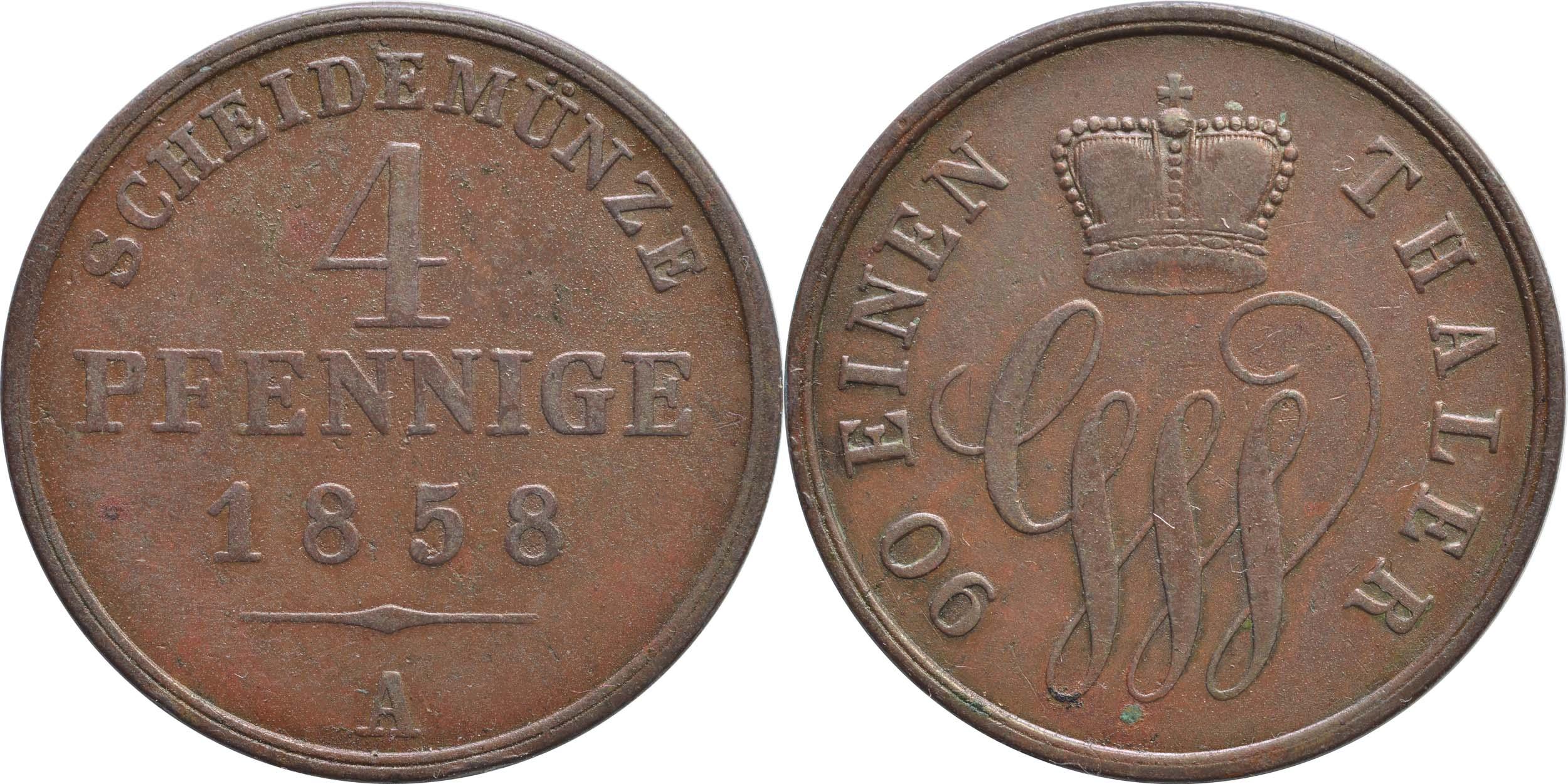 Lieferumfang:Deutschland : 4 Pfennnig   1858 vz.