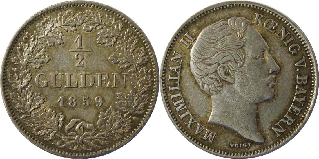 Deutschland : 1/2 Gulden  patina 1859 vz.