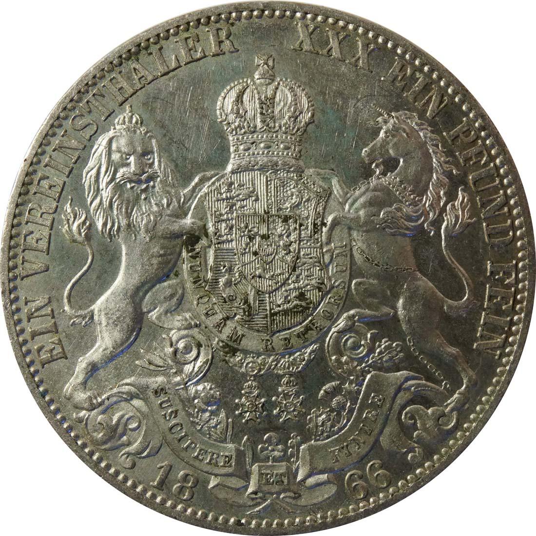 Rückseite :Deutschland : 1 Vereinstaler  patina 1866 vz.
