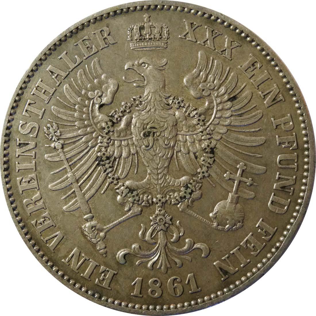 Rückseite:Deutschland : 1 Vereinstaler   1861 ss/vz.