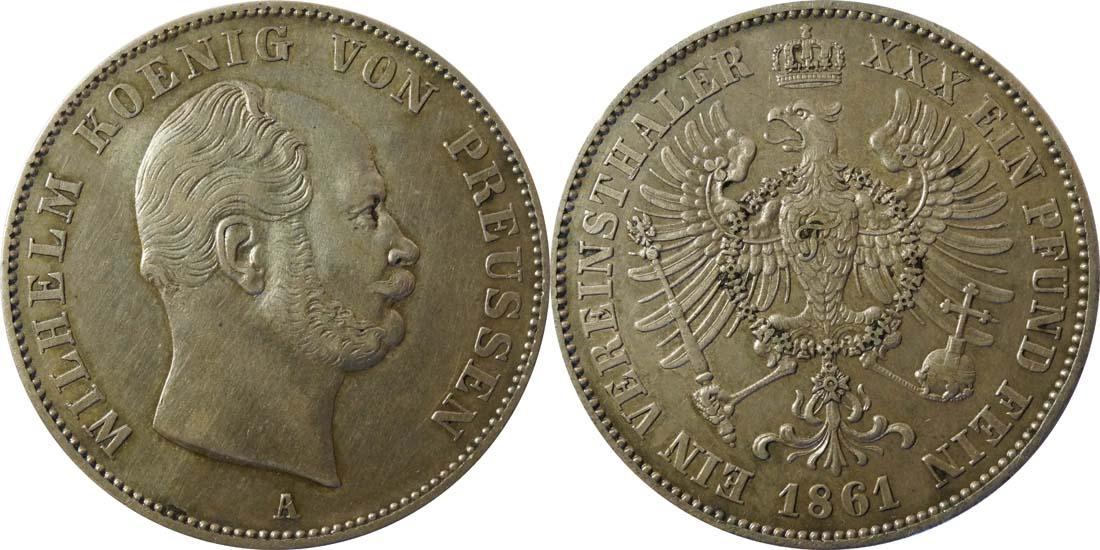 Übersicht:Deutschland : 1 Vereinstaler   1861 ss/vz.
