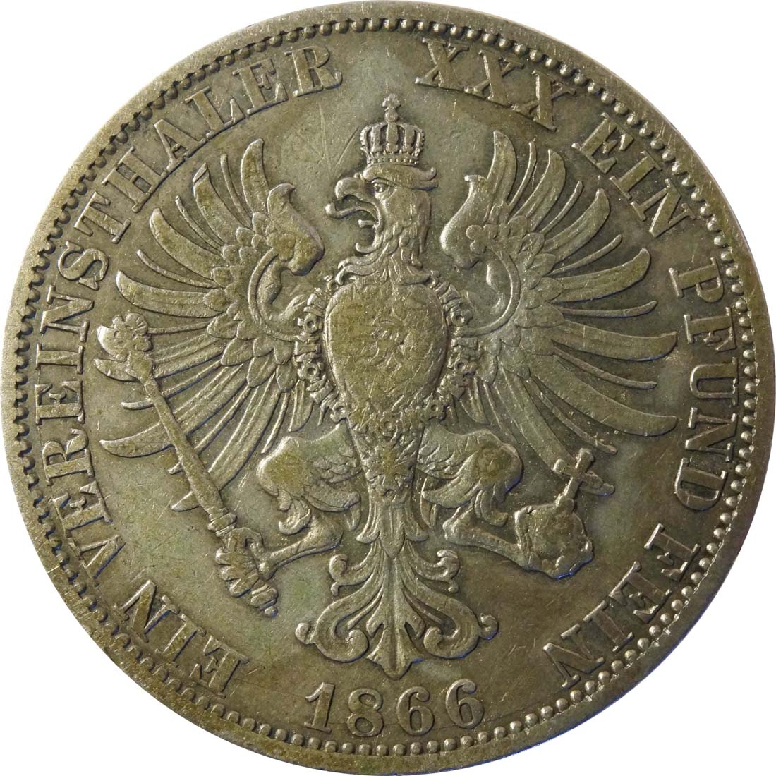 Rückseite :Deutschland : 1 Vereinstaler   1866 f.ss