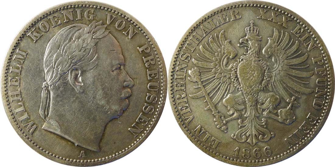 Deutschland : 1 Vereinstaler   1866 f.ss