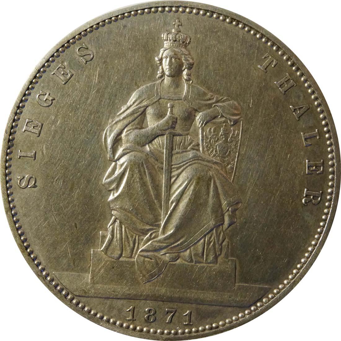Vorderseite :Deutschland : 1 Siegestaler   1871 ss.
