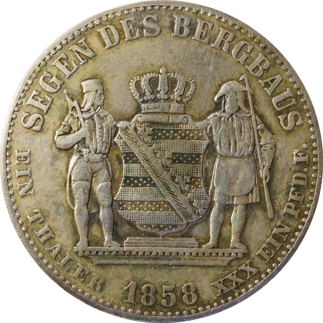 Vorderseite:Deutschland : 1 Ausbeutevereinstaler  patina 1858 ss.