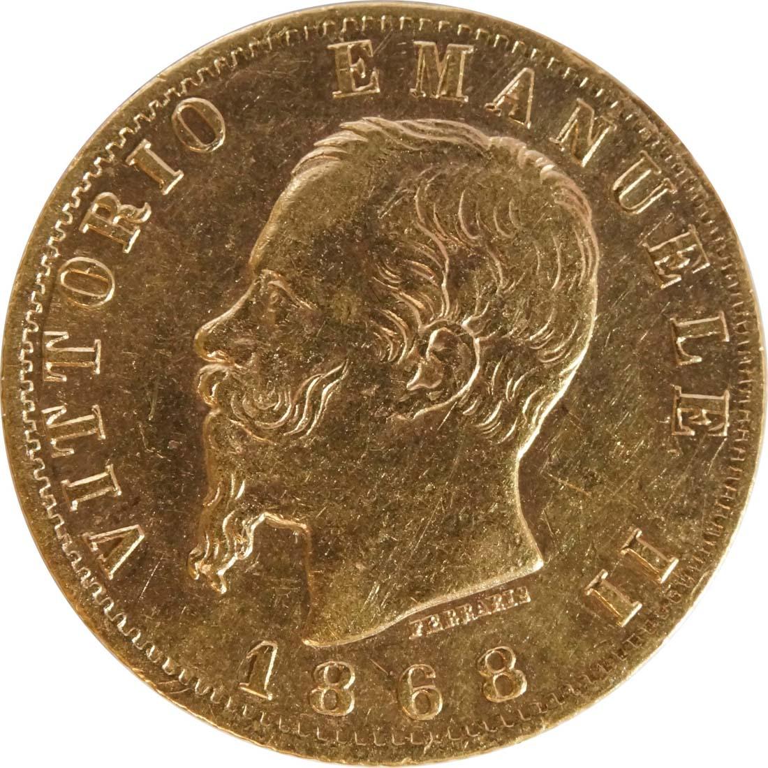 Rückseite:Italien : 20 Lire  winz. Kratzer 1868 f.vz.