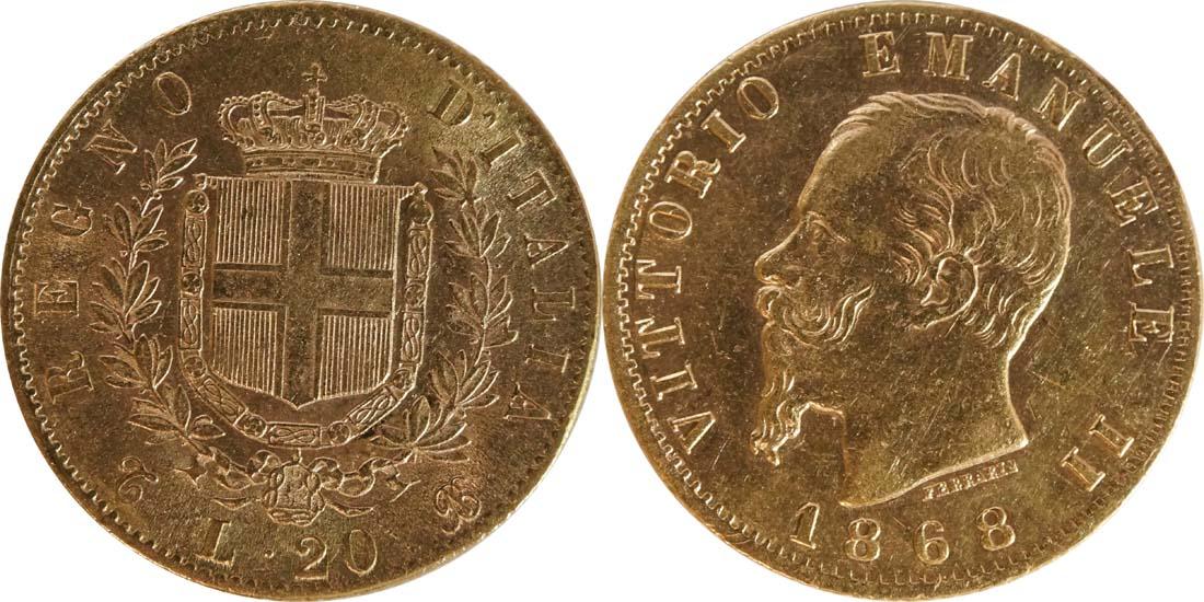 Italien : 20 Lire  winz. Kratzer 1868 f.vz.