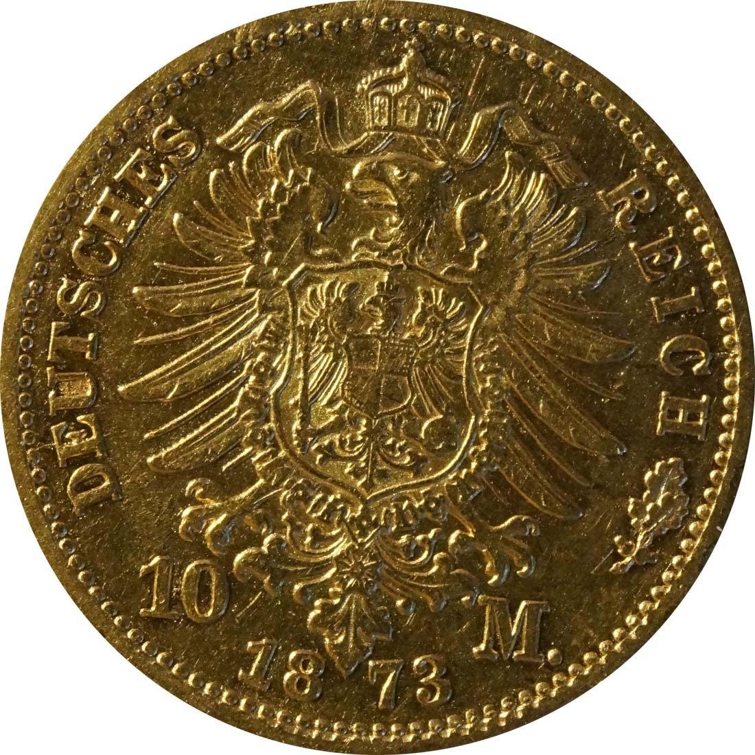 Rückseite:Deutschland : 10 Mark   1872 ss.