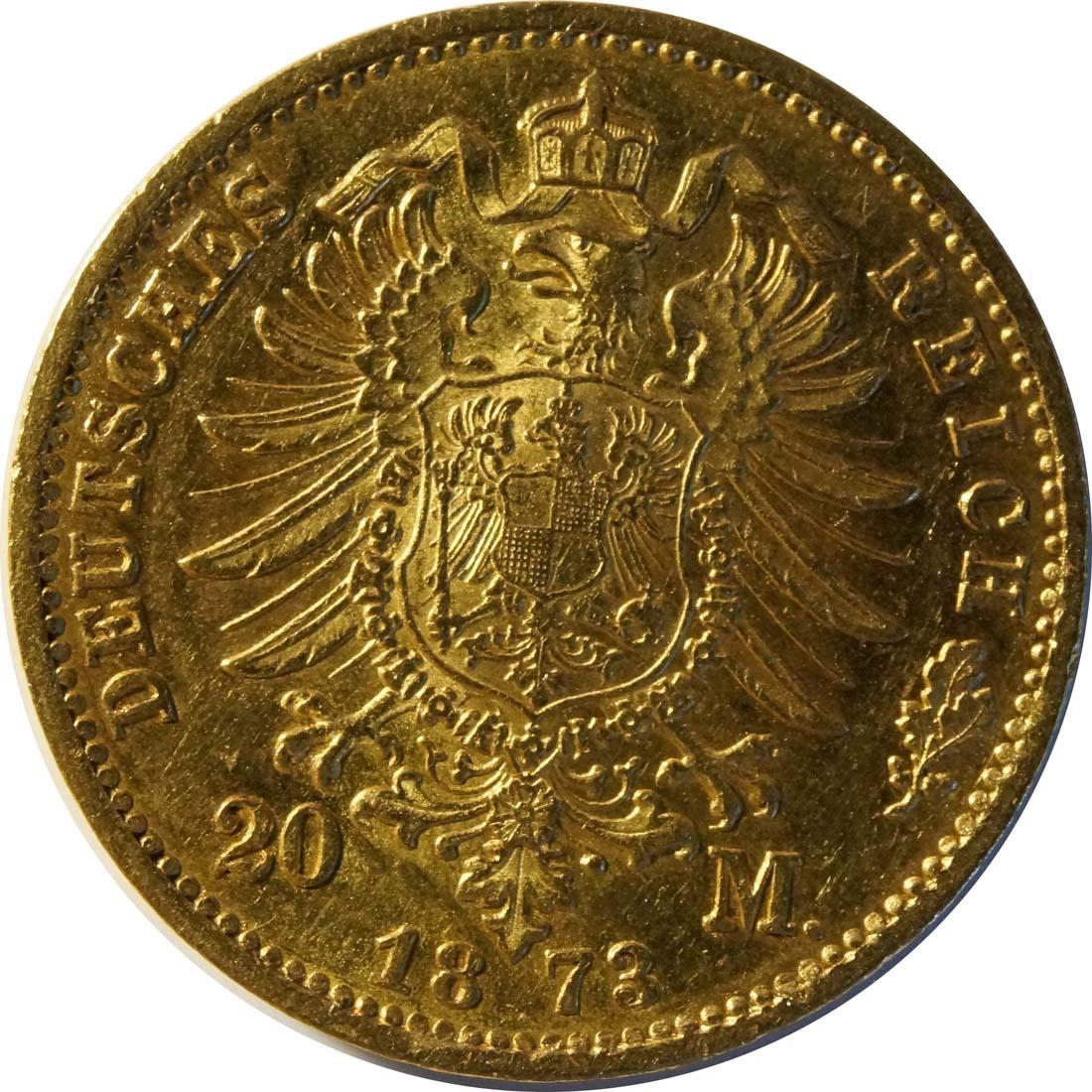 Rückseite :Deutschland : 20 Mark   1873 ss/vz.