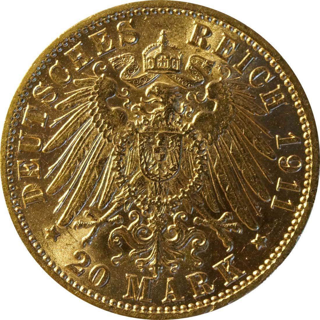 Rückseite :Deutschland : 20 Mark  winz. Rs. 1911 ss/vz.