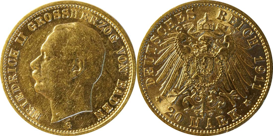 Deutschland : 20 Mark  winz. Rs. 1911 ss/vz.