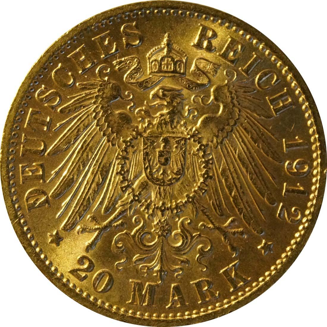 Rückseite:Deutschland : 20 Mark   1912 vz/Stgl.