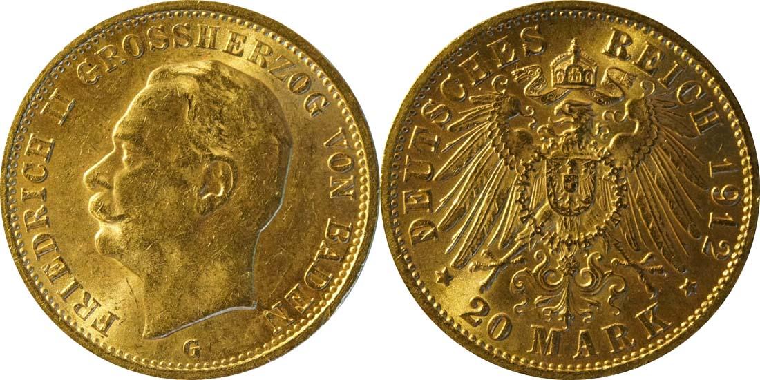 Übersicht:Deutschland : 20 Mark   1912 vz/Stgl.