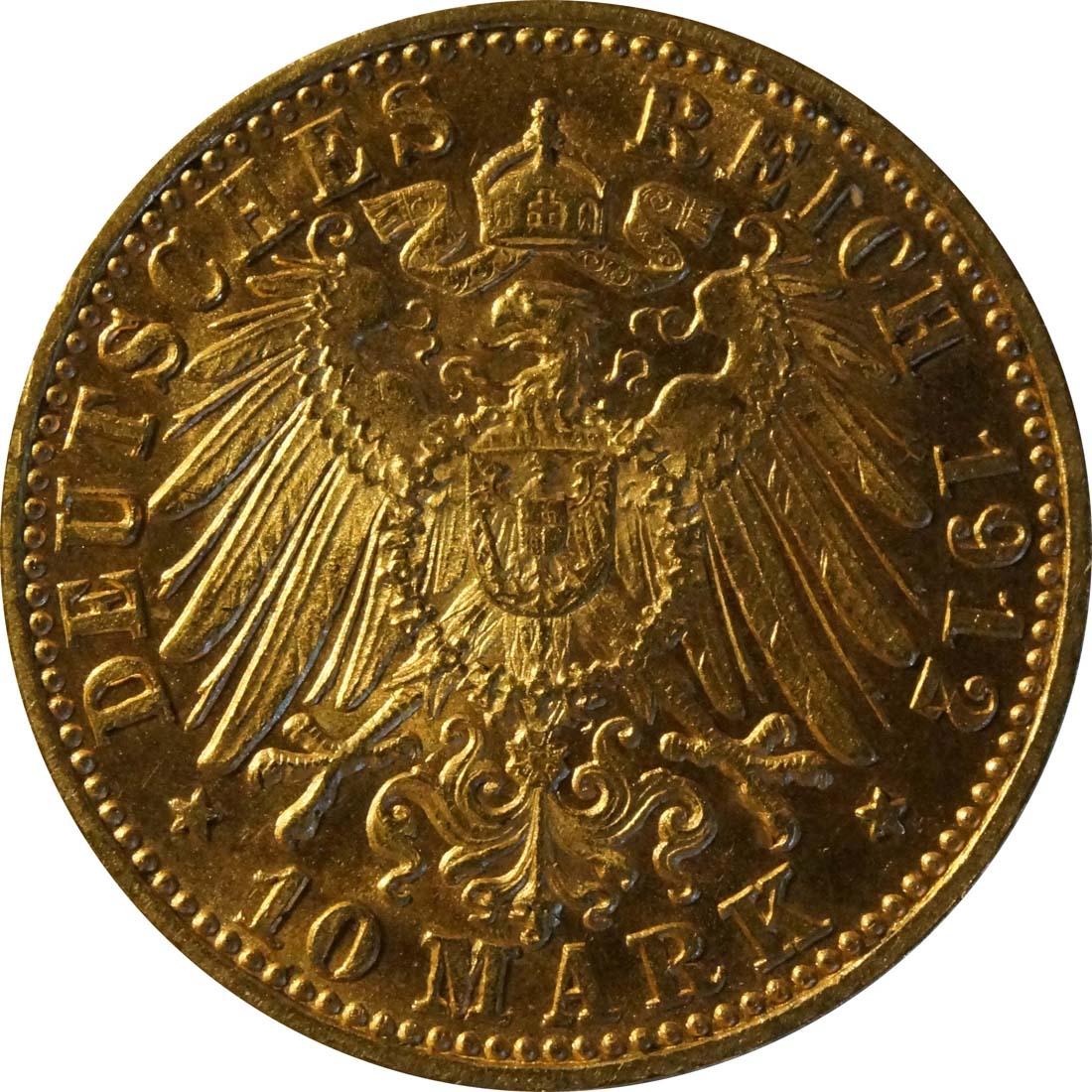 Rückseite:Deutschland : 10 Mark  winz. Kratzer 1912 vz.