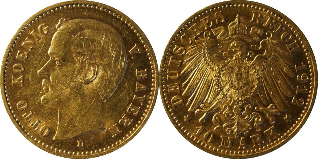 Deutschland : 10 Mark  winz. Kratzer 1912 vz.