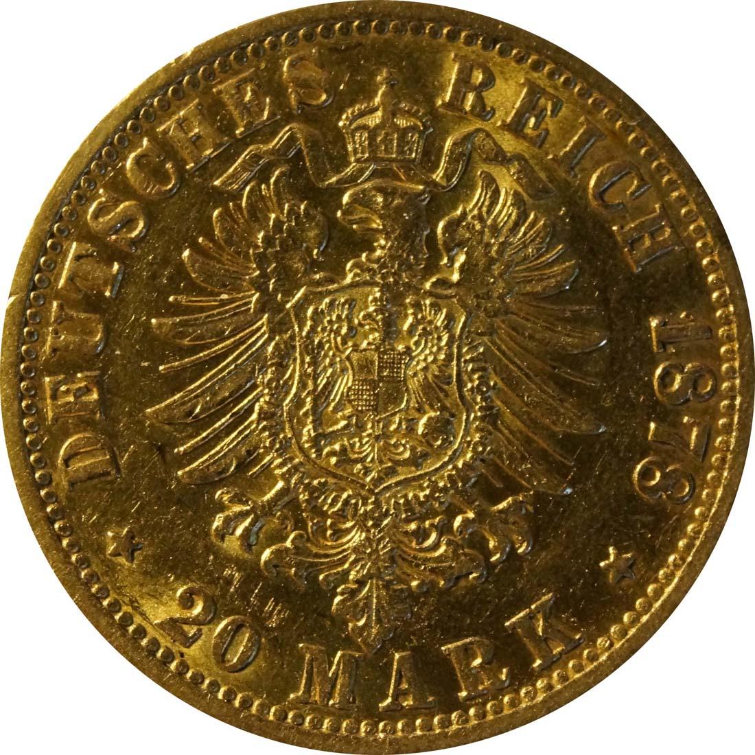 Rückseite:Deutschland : 20 Mark   1878 ss+