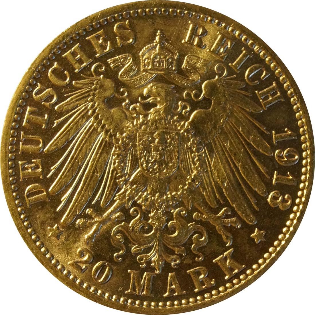 Rückseite:Deutschland : 20 Mark  winz. Kratzer 1913 vz/Stgl.