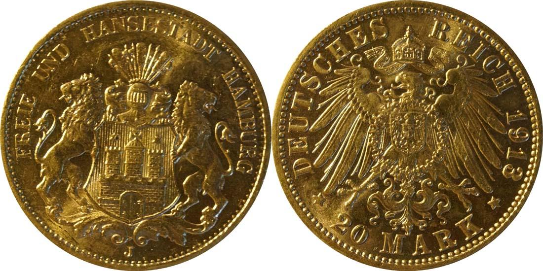 Übersicht:Deutschland : 20 Mark  winz. Kratzer 1913 vz/Stgl.