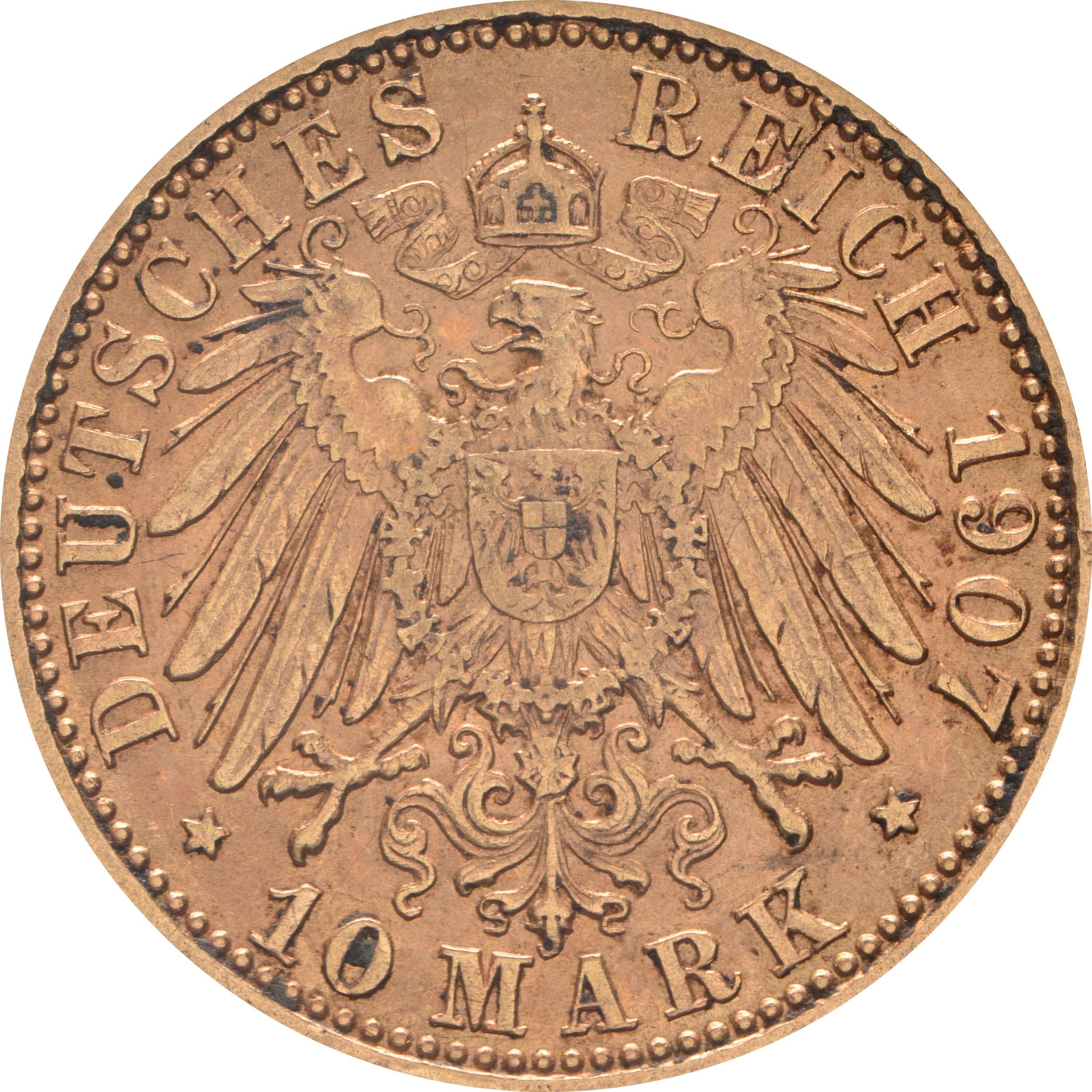 Rückseite:Deutschland : 10 Mark   1907 vz.